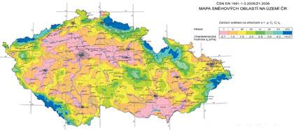 Zatížení sněhem mapa