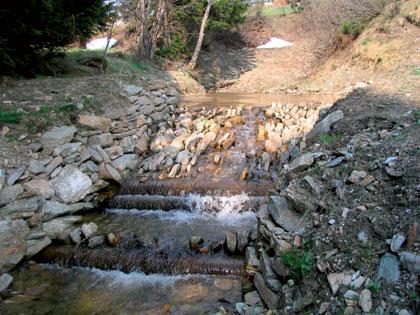 Renerův potok, balvanitý skluz s tůní