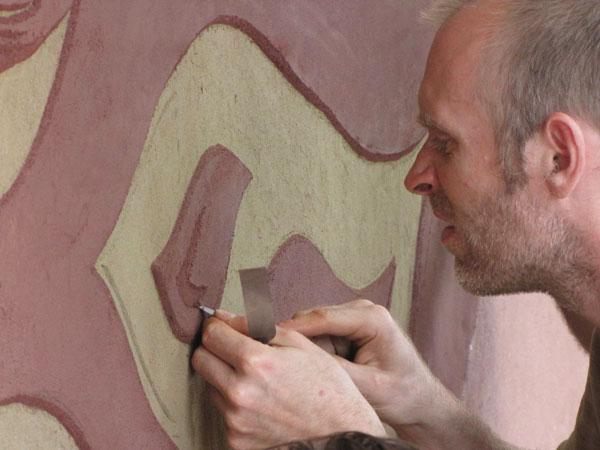 Obr. 9. Díky používání různých barev hlíny a tlaku při hutnění je možné vytvářet zajímavé struktury