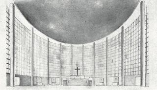 Návrh kostela v pražských Vršovicích, interiér