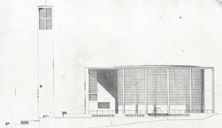 Návrh katolického kostela v pražských Vršovicích, pohled, věž a hlavní loď