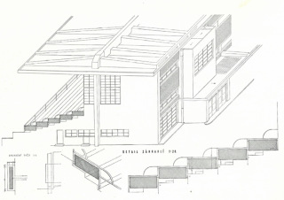 Axonometrický pohled na tribunu, detail zábradlí (zdroj: [1], str. 32)