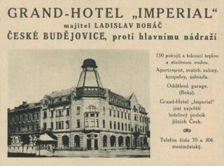 Grand Hotel Imperial v Českých Budějovicích, původní dobová reklama