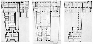 Královéhradecká spořitelna – půdorys suterénu, půdorys přízemí, půdorys 1.NP