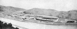 Soutěžní návrh stadionu v Braníku u Prahy, pohled