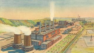Vize ideálního řetězce energie – důl – prádlo – koksovna a elektrárna; projekt Báňské a hutní společnosti pro Karvinou