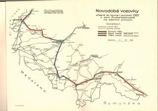 Hlavní silnice spojující západ a východ Podkarpatské Rusi do roku 1933