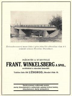 Novostavba silničního mostu přes řeku Uh (též Už) v reklamním tisku