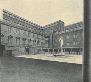 Přestavba a přístavba bývalého Lobkovického paláce v Praze, Hybernská ulice, návrh nádvoří