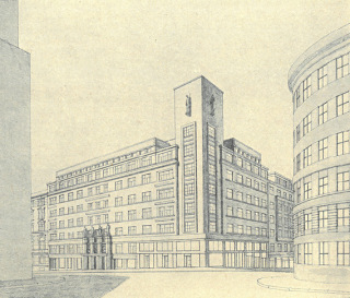 Návrh na stavbu hasičského domu na Královských Vinohradech