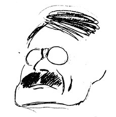 Obr. 2 Otakar Novotný, karikatura, autor Jan Kotěra, před rokem 1923