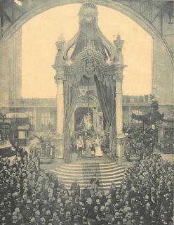Ohmannův Baldachýn na Jubilejní zemské výstavě v Praze – zahájení výstavy arcivévodou Karlem Ludvíkem 15. května 1892 (zdroj: [2])