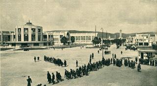 Brněnské výstaviště, hlavní palác s alejí naproti vstupu, 1928