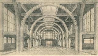 Obchodně-průmyslový palác (v současnosti pavilon A) zemského výstaviště v Brně, návrh Josefa Kalouse, 1926