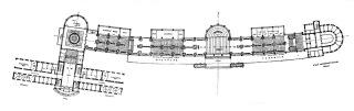 Návrh na vybudování lázeňské čtvrti v Jáchymově, půdorys kolonády, 1928