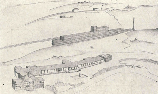 Soutěžní návrh na vybudování lázeňské čtvrti v Jáchymově, perspektivní pohled, 1928