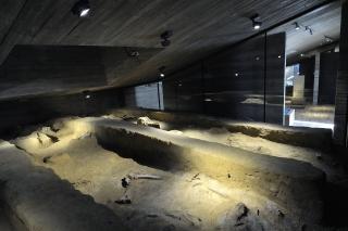 Expozice in situ s autentickou skládkou mamutích kostí