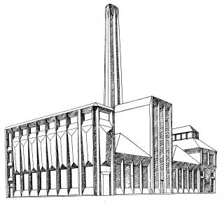 Josef Chochol, studie továrny, 1912