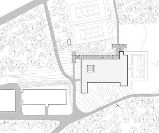 Celková situace, 1 pavilon ájurvédské medicíny, 2 budova Gymnazion,  3 budova Pavilion, 4 cesta spojující prameny sv. Kateřiny a sv. Matyldy