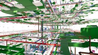 Obr. 1 Prostřednictvím virtuální reality je možno projít působivým modelem samotných rozvodů TZB