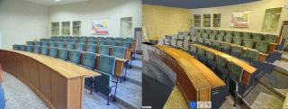 Obr. 3 Porovnání fotografie a 3D skenu posluchárny Pedagogické fakulty Univerzity Karlovy v Praze