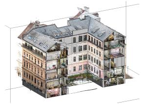 Obr. 5 Model budovy s připojeným mračnem bodů