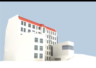 Vývojová vizualizace tvaru přístavby - A