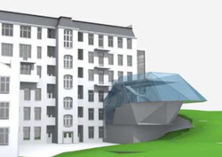 Vývojová vizualizace tvaru přístavby - B