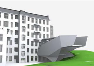 Vývojová vizualizace tvaru přístavby - C