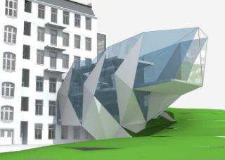 Vývojová vizualizace tvaru přístavby - D