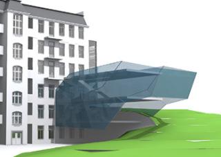 Vývojová vizualizace tvaru přístavby - E