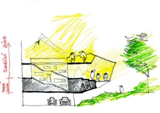 Vizualizace tvaru přístavby, rozdělení na prosklenou a bezokenní část