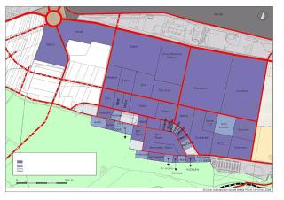 Obr. 3 Původní  schéma  funkčního  a  urbanistického  členění  lokality  Borská  pole, v tomto  případě již však s doplněním firem umístěných k roku 2004