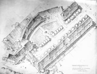 Obr. 08 Skica druhé stavební etapy, letecký pohled, bez datace a signatury, pravděpodobně 1926, Arnošt Korner (zdroj: [1])