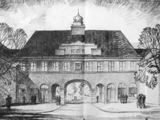 Obr. 06 Perspektivní kresba průjezdného domu č. p. 285, bez datace a signatury, pravděpodobně 1926, Arnošt Korner (zdroj: [1])
