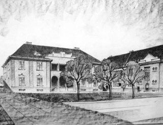 Obr. 09 Perspektivní kresba zástavby druhé etapy Jubilejní kolonie, bez datace a signatury, pravděpodobně 1926, Arnošt Korner (zdroj: [1])