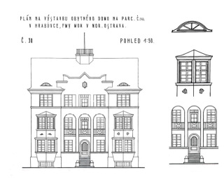 Obr. 07 Arnošt Korner, uliční průčelí a detaily bytového domu č. p. 311, 1928 (zdroj: [1])