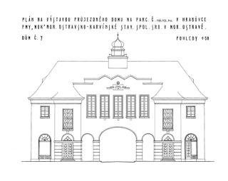 Obr. 04 Arnošt Korner, průčelí průjezdného domu č. p. 285, 1926 (zdroj: [1])