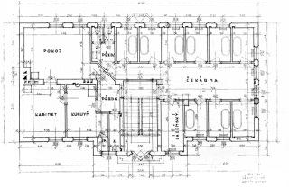 Obr. 11 Arnošt Korner, půdorys prvního patra budovy lázní č. p. 385 s bytem a oddělením vanových lázní, 1929 (zdroj: [1])