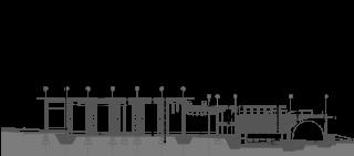 Příčný řez objektem se znázorněním výškových návazností mezi návštěvnickou částí a výrobní halou