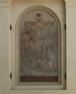 Obr. 13 Detail vyobrazení ukřižování Ježíše Krista, na XII. zastavení Ježíš na kříži umírá (foto: Ladislav Bezděk)