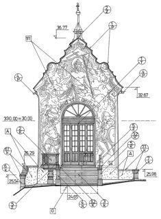 Obr. 06 Schéma kaple Kalvárie (sv. Kříže) – projektová dokumentace (zdroj: arch. Miloslav Hanzl)
