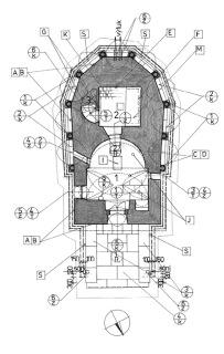 Obr. 11 Schéma kaple Božího hrobu – projektová dokumentace (zdroj: arch. Miloslav Hanzl)