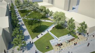Před zpracováním projektu revitalizace Smetanova náměstí byla pro veřejnou rozpravu vypracována tato vizualizace