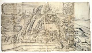 Nejstarší vyobrazení města z konce 17. století se zřejmou dispozicí historického jádra; vpravo je patrné pravidelné Havlíčkovo náměstí, vlevo protáhlý uliční prostor Rosmark, později Smetanovo náměstí