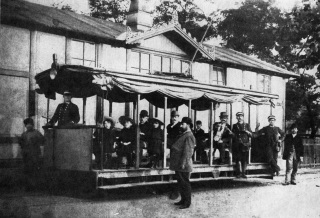 První česká elektrická tramvaj v českých zemích zahájila provoz na pražské Letné 18. července 1891  u  příležitosti  konání  Jubilejní  výstavy.  Pro napájení sítě postavil Křižík malou elektrárnu s lokomobilou pohánějící dynamoelektrický stroj, který vyráběl elektrický proud o napětí 150 V