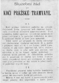 """Služební řád pro """"kočí"""" pražské """"tramwaye"""""""