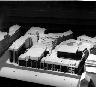 Dům techniky a ČSVA – nerealizovaná studie budovy ČSVA v místě dnešního Quadria od Ing. arch. Karla Pragera
