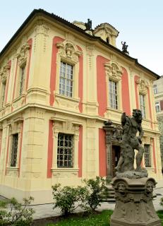 Muzeum Antonína Dvořáka v Michnově letohrádku Amerika, Praha–Nové Město, ulice Ke Karlovu – budova byla restaurována podle návrhu Antonína Bauma