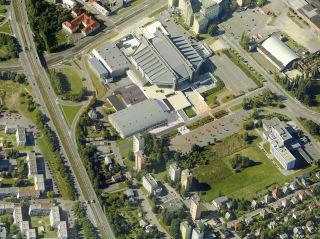 Letecký pohled, 1 – atletická hala, 2 – Ostravar Aréna, 3 – lední plocha, 4 – atletický tréninkový tunel, 5 – hotel Puls